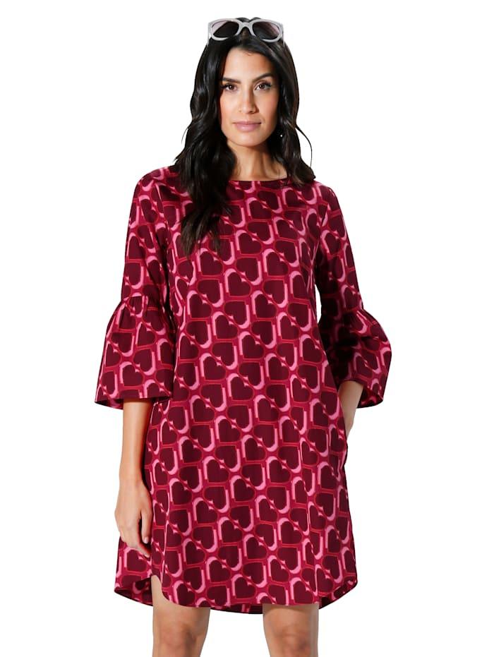Kleid allover im Herzchendruck