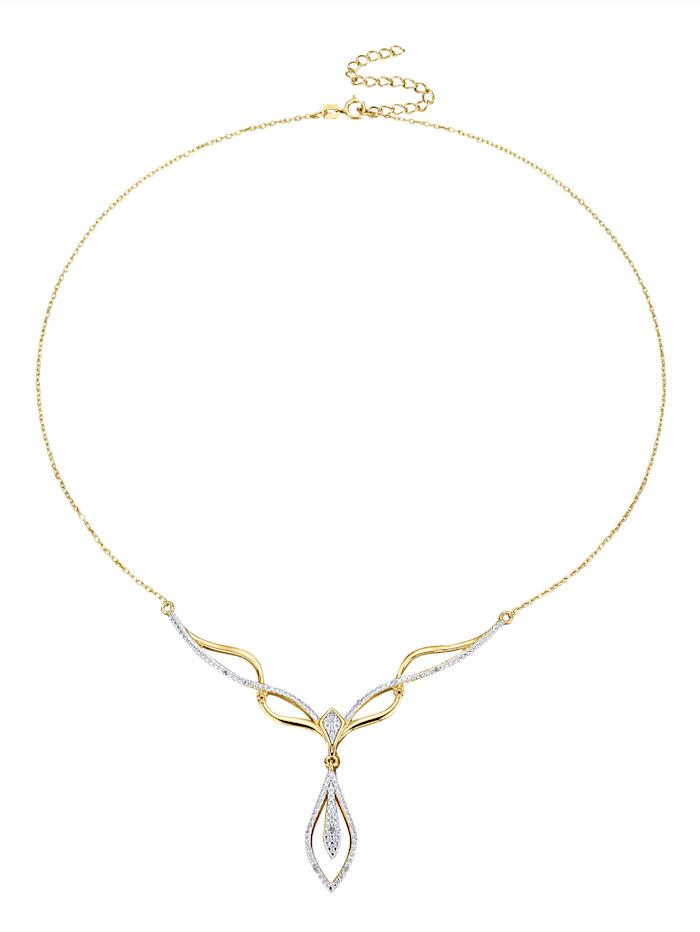 Collier mit Diamant, Gelbgoldfarben