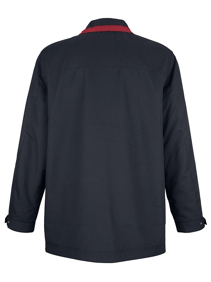 Veste longue à finitions contrastantes au col