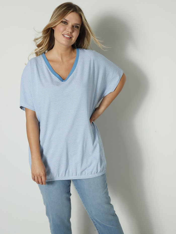 Janet & Joyce Shirt mit Gummizug am Saum, Hellblau/Weiß