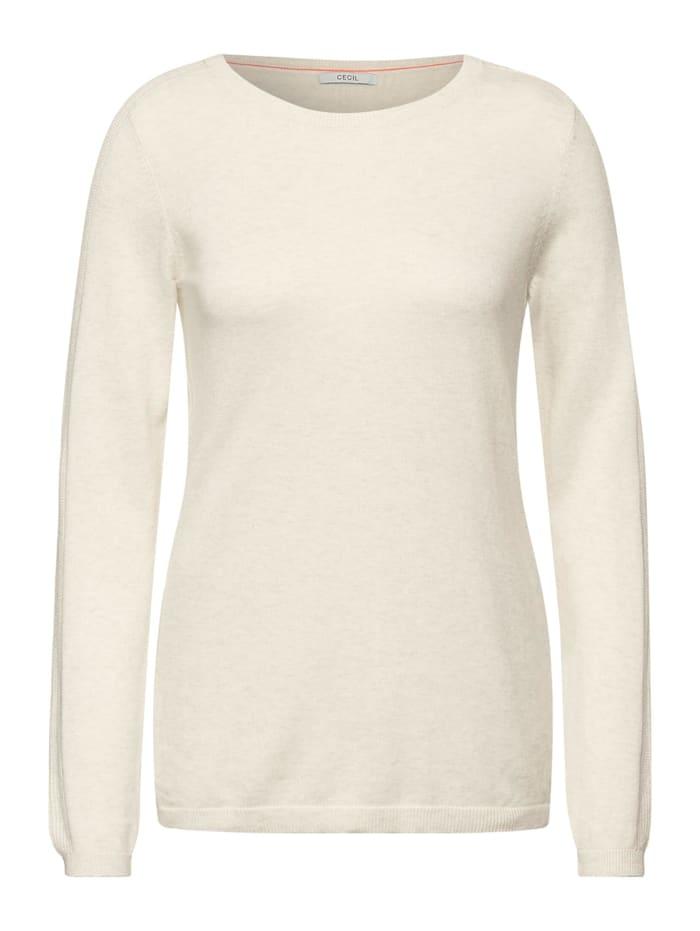 Cecil Basic Pullover, birch white melange
