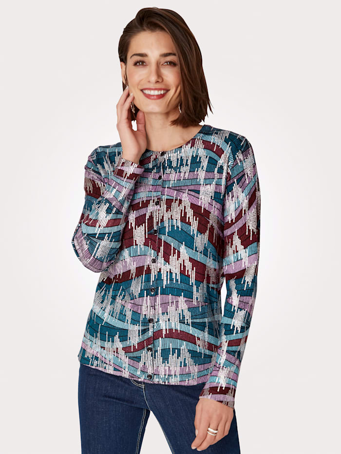 MONA Vest met fraaie print, Berry/Turquoise/Zilverkleur