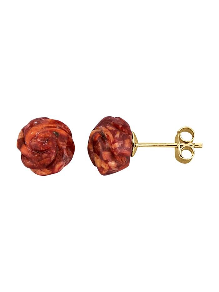 Rosen-Ohrstecker aus Korallen, Rot