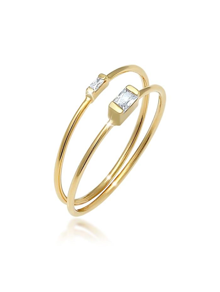 Elli Ring Stapelringe Zirkonia Rechteck 2Er Set 925 Silber, Gold