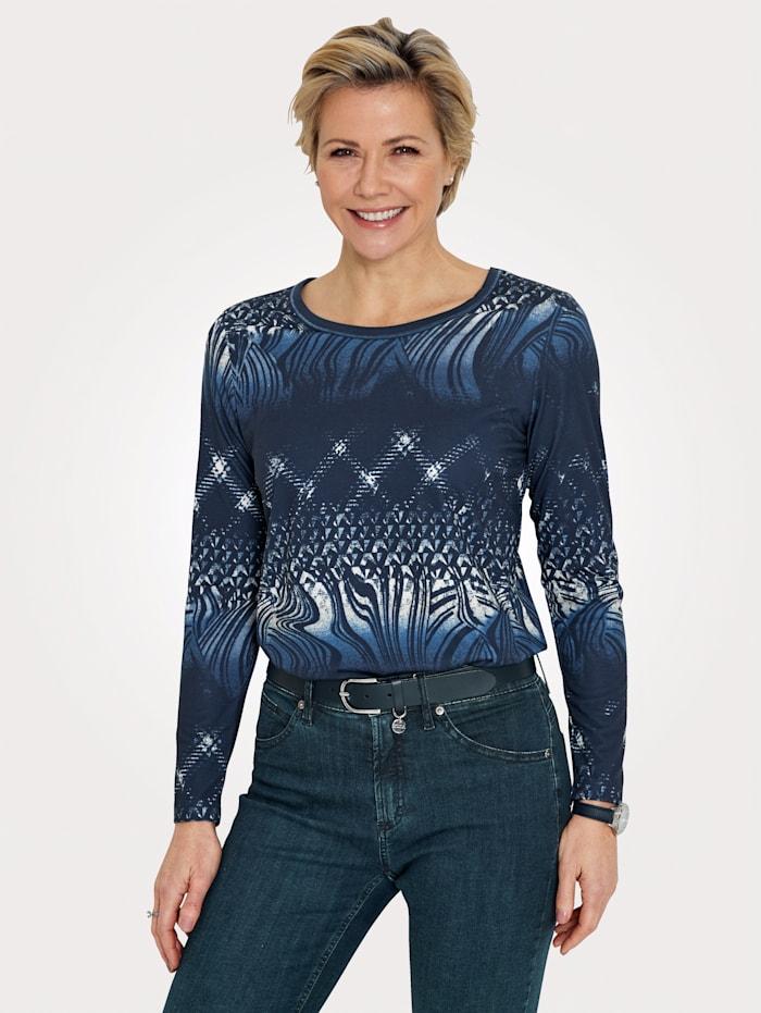 MONA Shirt im grafischen Druckdessin, Marineblau/Blau