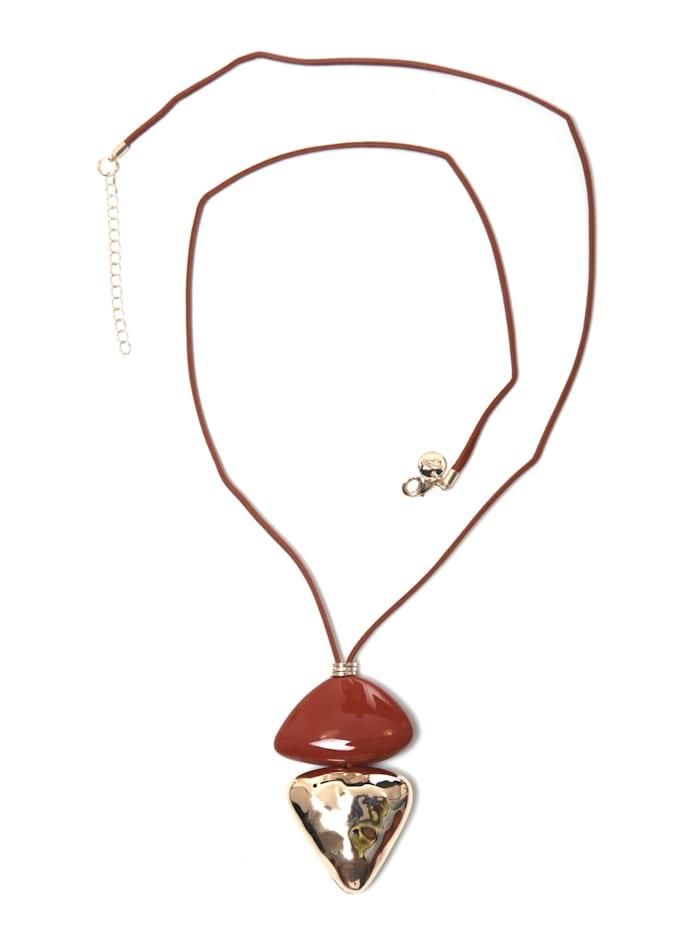 Collezione Alessandro Lange Kette Beate mit opulenten Behang, cognac