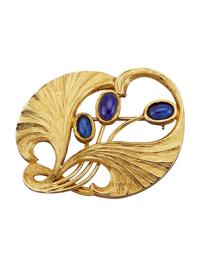 Ursula Christ Broche met lapis lazuli-cabochons, Blauw