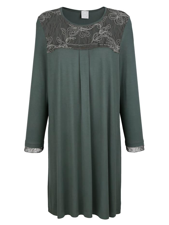 MONA Nachthemd mit romantischer Spitze, Salbeigrün