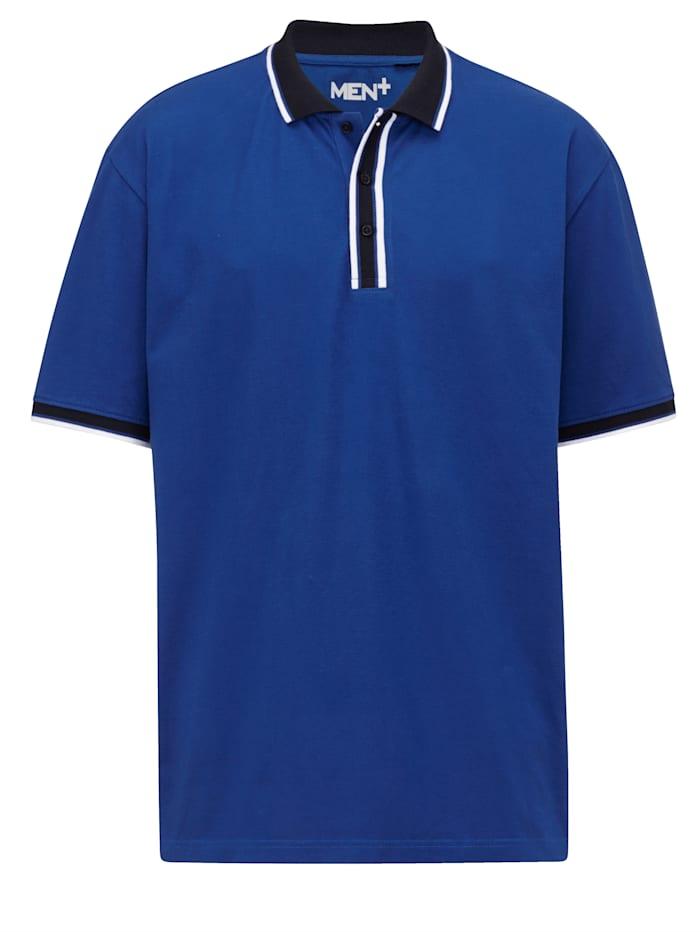 Men Plus Poloshirt mit garngefärbten Streifen, Royalblau