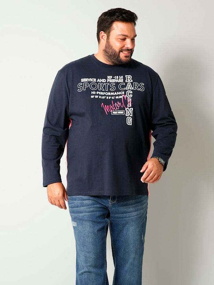 Men Plus Shirt van zuiver katoen, Marine/Koraal