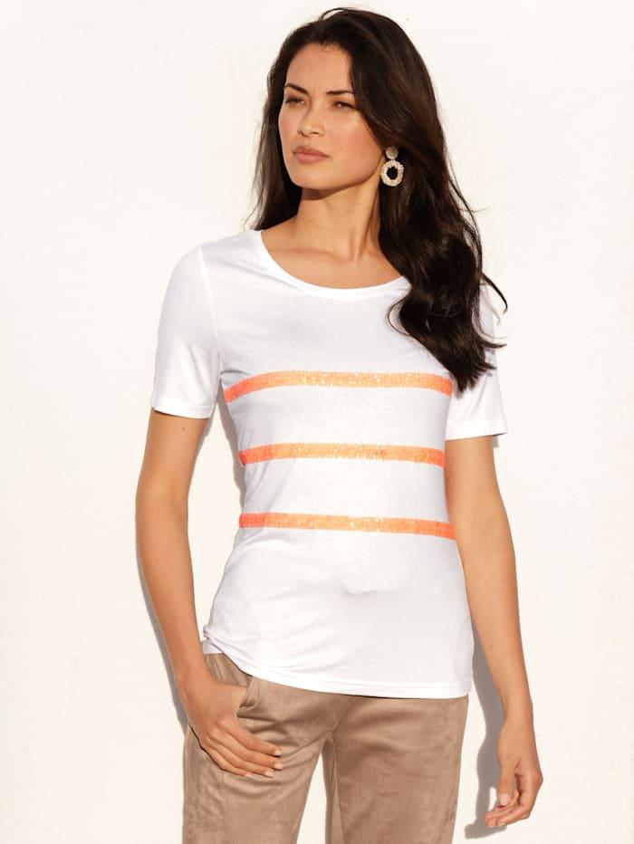 AMY VERMONT Shirt mit Pailletten, Weiß/Neonorange