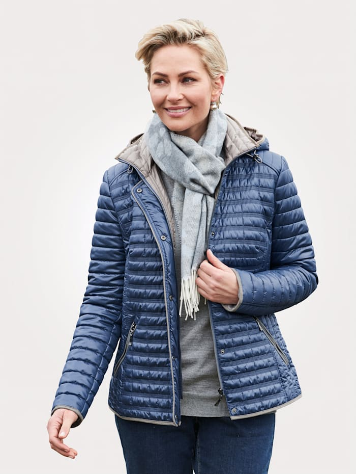 Barbara Lebek Gewatteerde jas met afritsbare capuchon, Royal blue