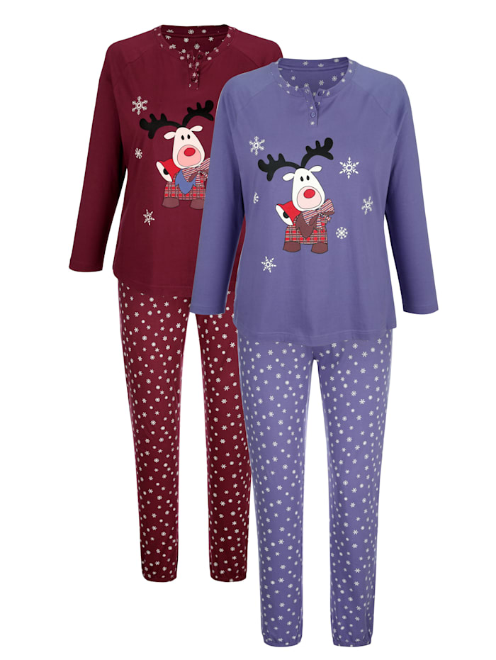 Blue Moon Pyjama's per 2 stuks met winters dessin, Rookblauw/Bordeaux