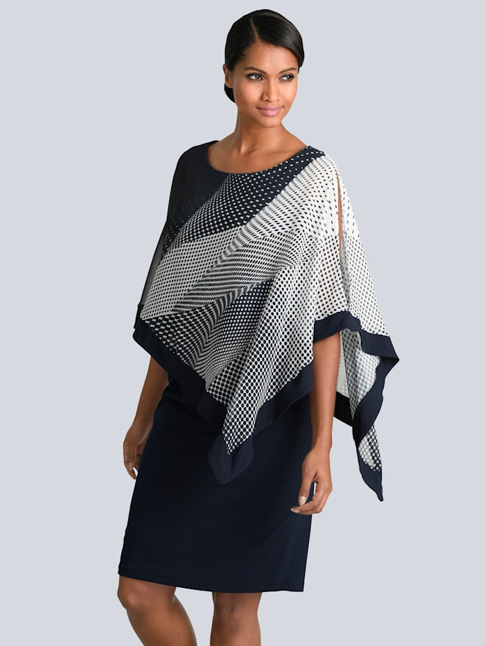 Alba Moda Kleid mit elegantem Chiffon, Marineblau/Off-white