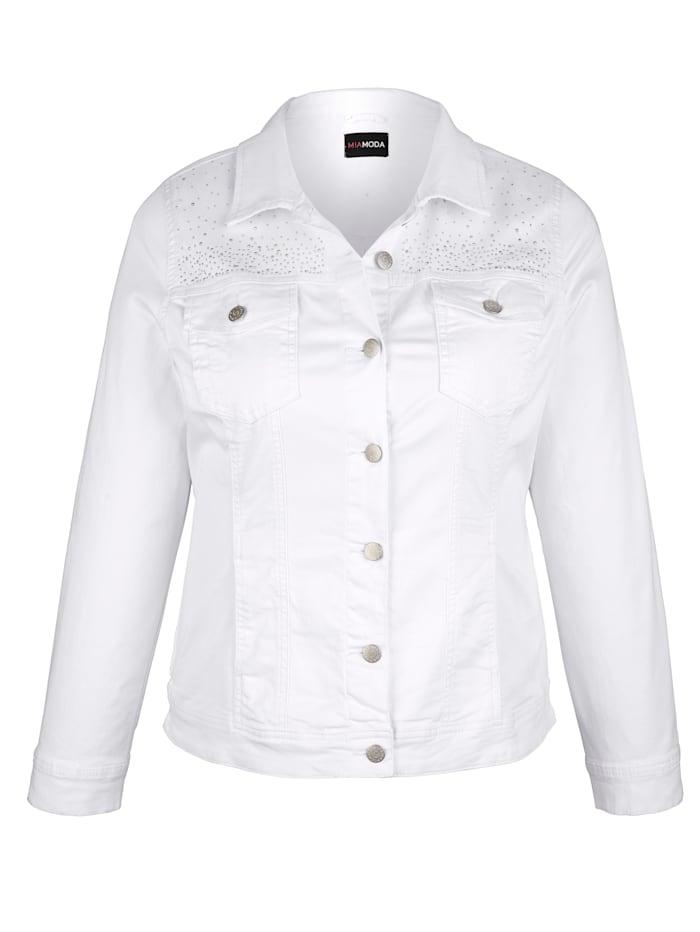 Jeansjacke mit Dekosteinen