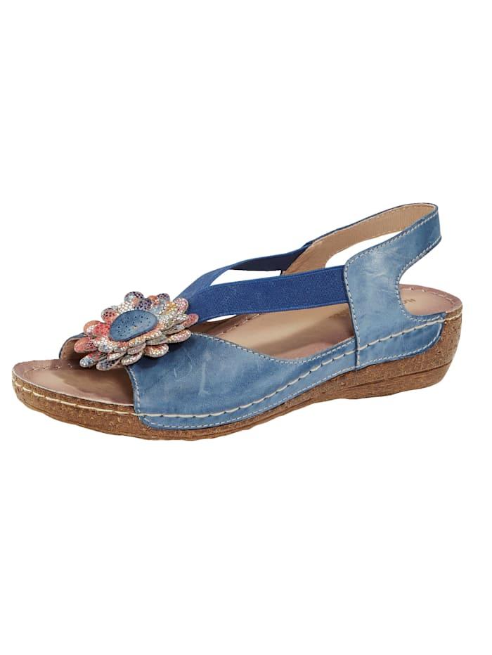 Naturläufer Sandale mit schöner Blütenapplikation, Blau