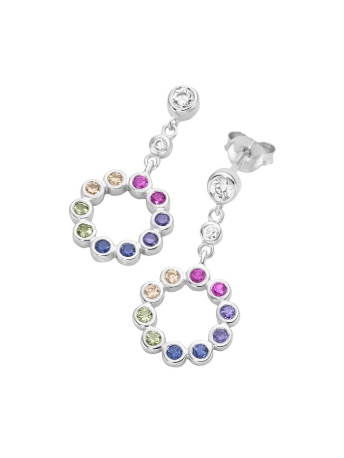Smart Jewel Ohrstecker Kreis regenbogenfarben, Silber 925, Bunt