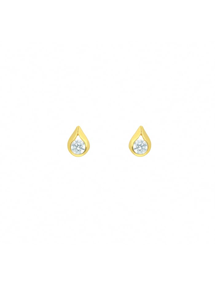 1001 Diamonds 1001 Diamonds Damen Goldschmuck 585 Gold Ohrringe / Ohrstecker mit Zirkonia, gold