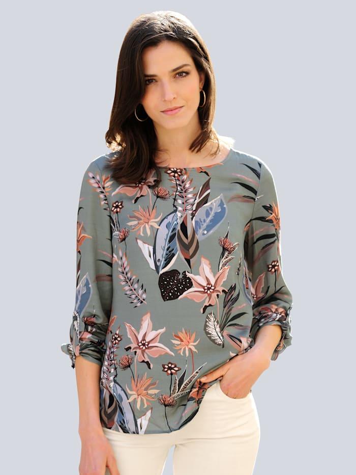 Alba Moda Bluse mit floralem Dessin, Salbeigrün/Rosé