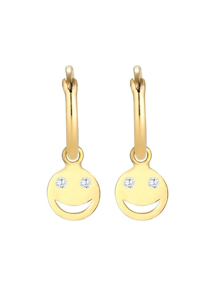 Ohrringe Creolen Smiley Emoji Plättchen Trend 925 Silber