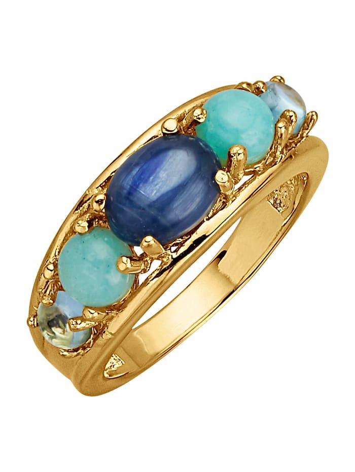 Damenring mit Kyanit, Amazoniten und Blautopasen, Blau