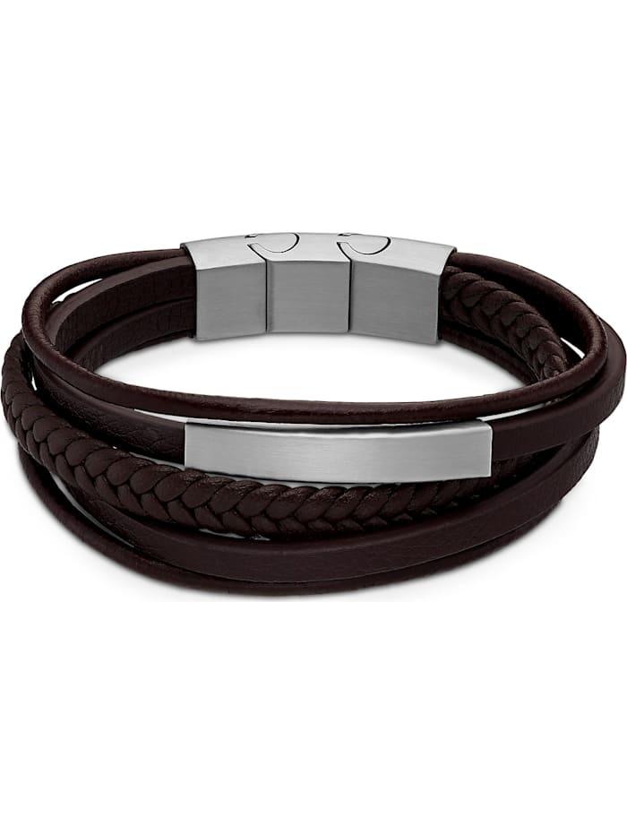 FAVS. FAVS Herren-Armband Leder, Edelstahl, braun