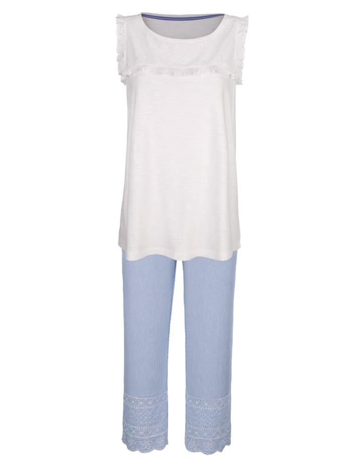 Simone Pyjama à jolies manches à ailettes, Blanc/Bleu