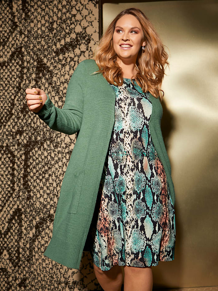 Sara Lindholm Robe en jersey à imprimé serpent, Noir/Vert