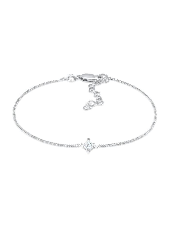 DIAMORE Armband Solitär Viereck Diamant (0.1 Ct.) 925 Silber, Silber