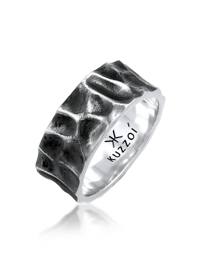 Kuzzoi Ring Herren Bandring Geschmiedet Used Look 925 Silber, Grau