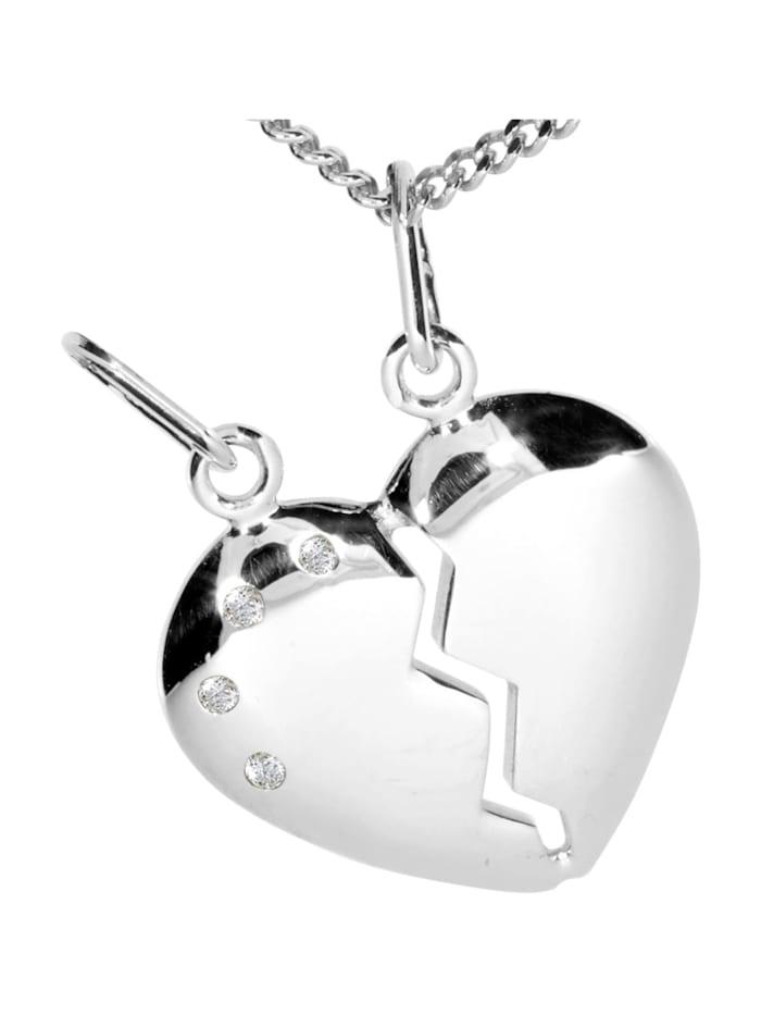 OSTSEE-SCHMUCK Kette mit Anhänger - geteiltes Herz - Silber 925/000 - Zirkonia, silber