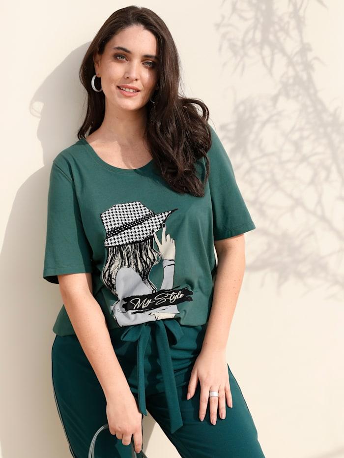 MIAMODA Shirt met siersteentjes, Groen