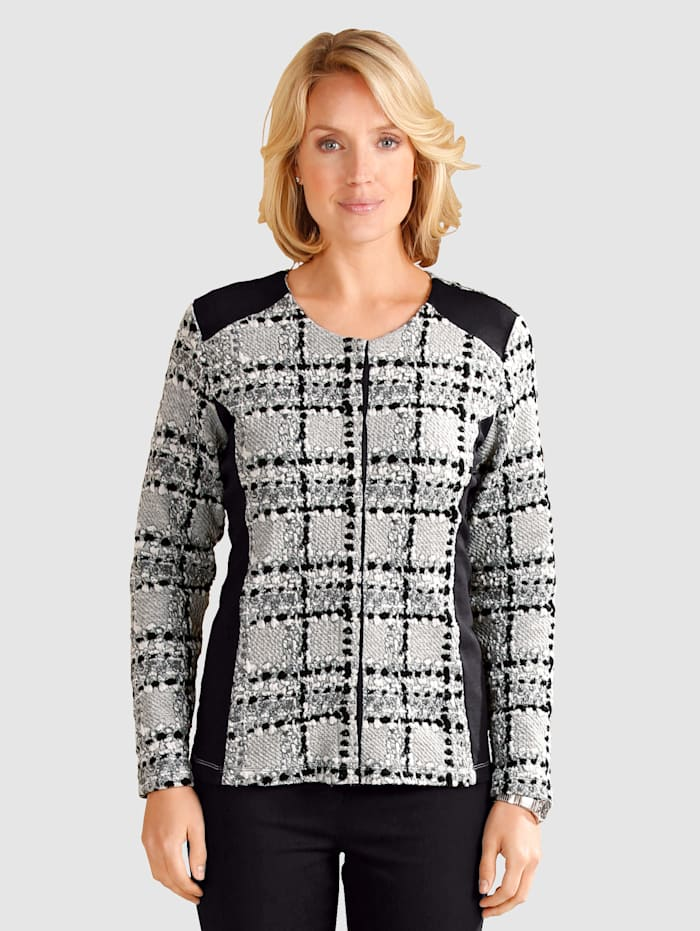 Paola Jersey blazer with contrast detailing, Grey/Black/White