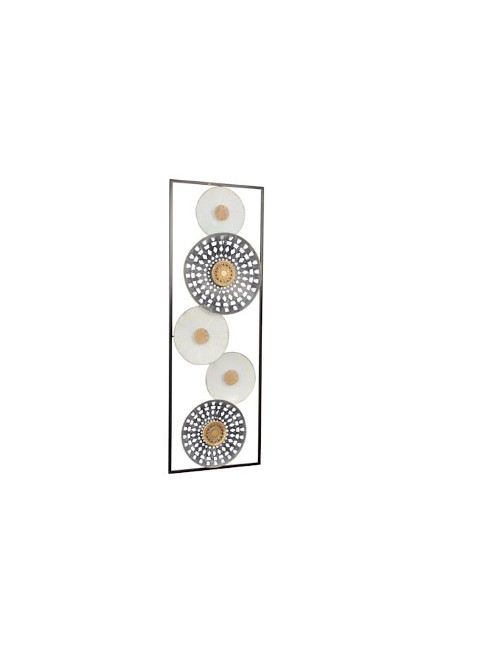 """Möbel-Direkt-Online Wanddekoration """"Kreise"""", antik grau, cremeweiß und goldfarben"""
