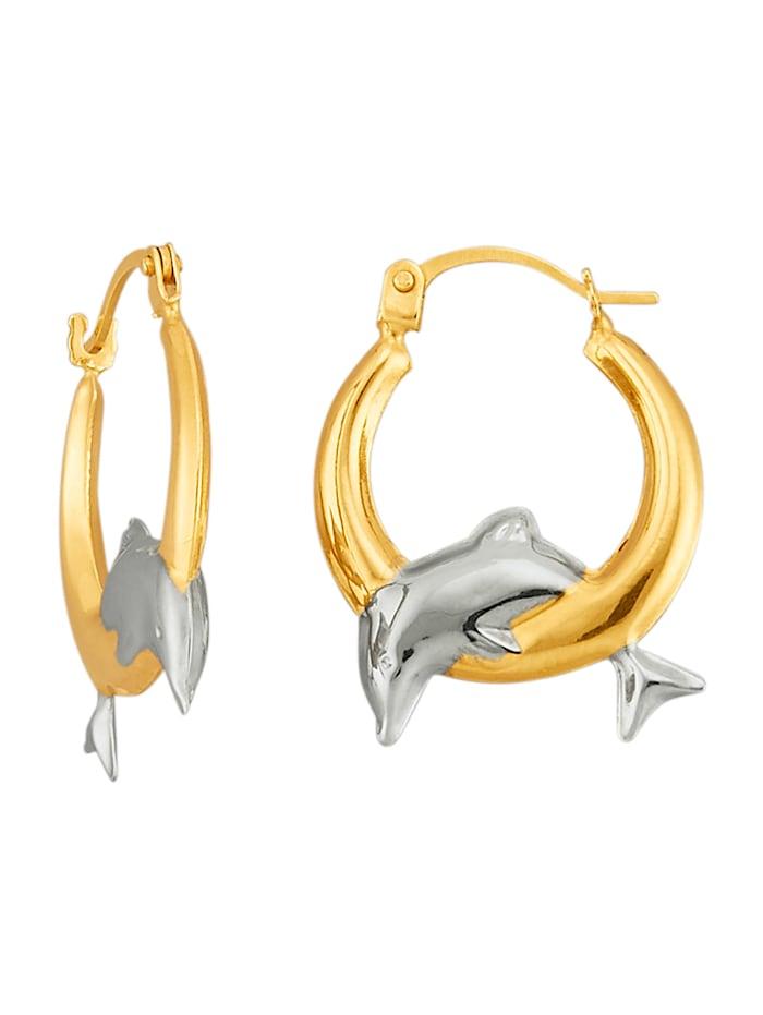 Delphin-Creolen in Gelbgold 375, Gelbgoldfarben