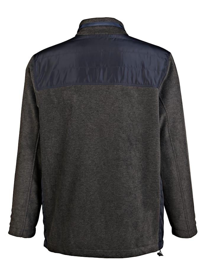 Fleecová bunda s tkanými vsadkami