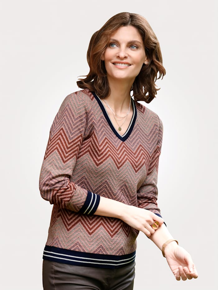 MONA Pullover mit Glanzgarn, Marineblau/Pink/Orange