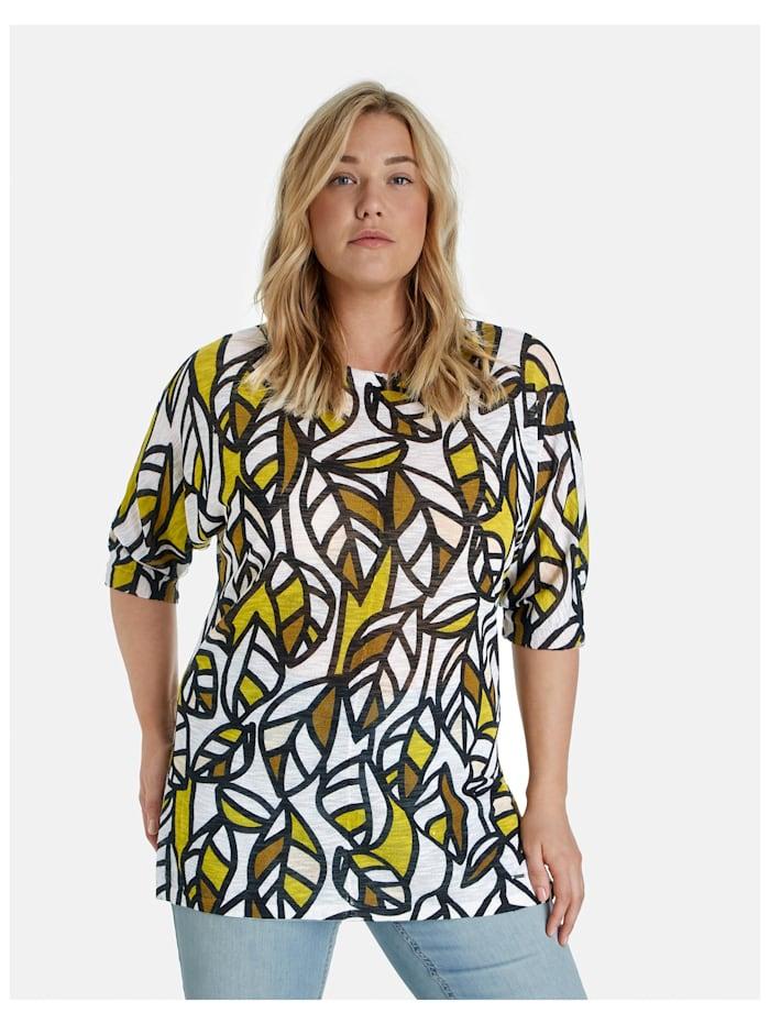 Samoon Leichter Pullover mit Print, Citronella gemustert