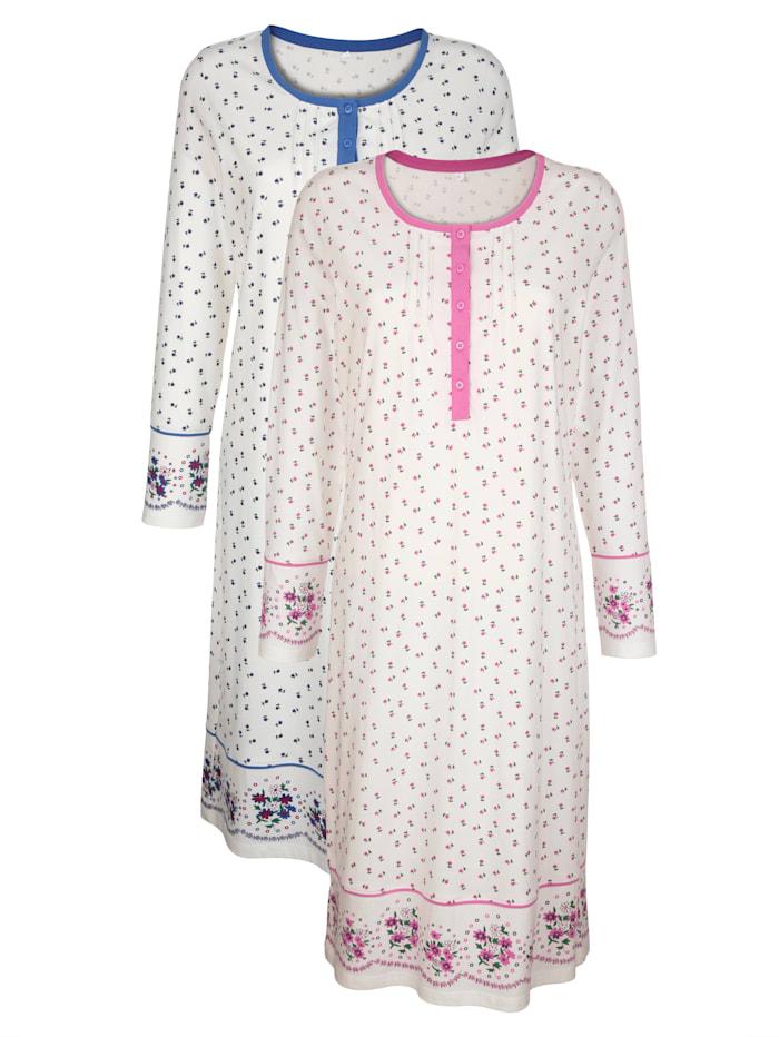 Harmony Chemises de nuit par lot de 2 à passepoil contrastant, Écru/Rose/Bleu