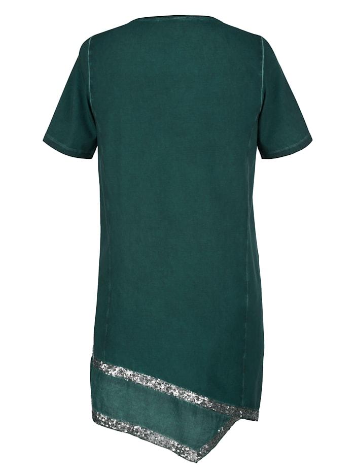 Longshirt met decoratieve inzet van weefstof aan de zoom