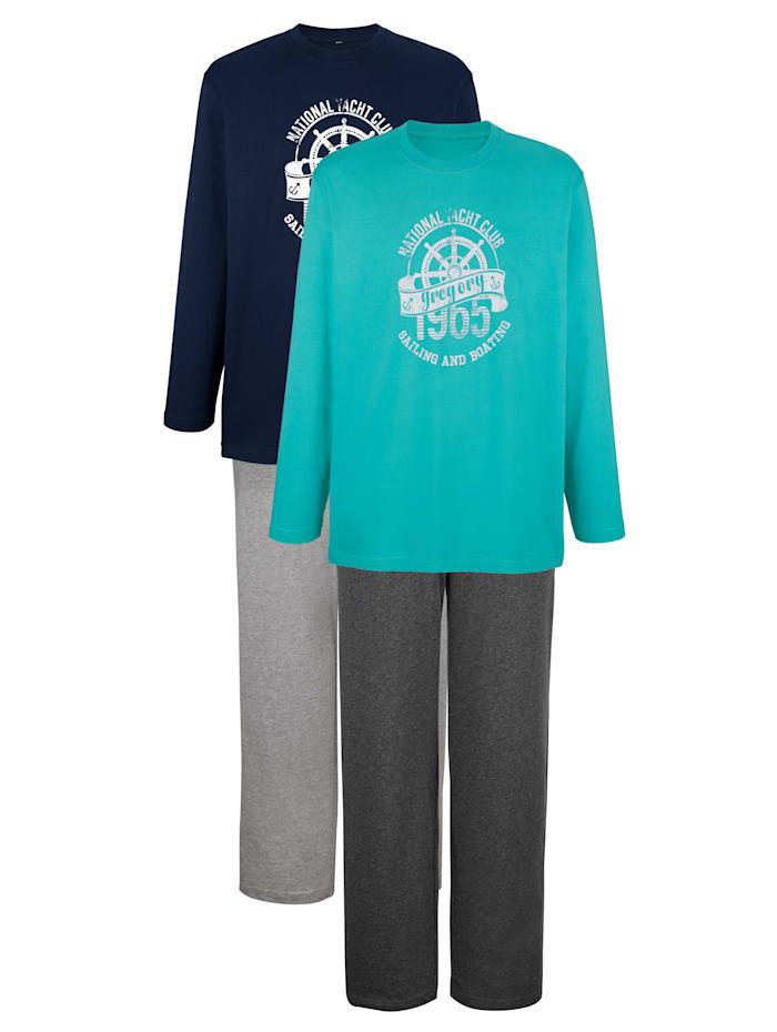 G Gregory Pyjama's, Turquoise/Marine/Grijs