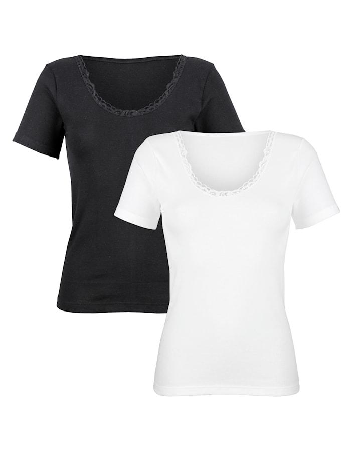 """Harmony Shirt aus dem """"Cotton made in Africa""""-Programm 2er Pack, 1x weiß,1x schwarz"""