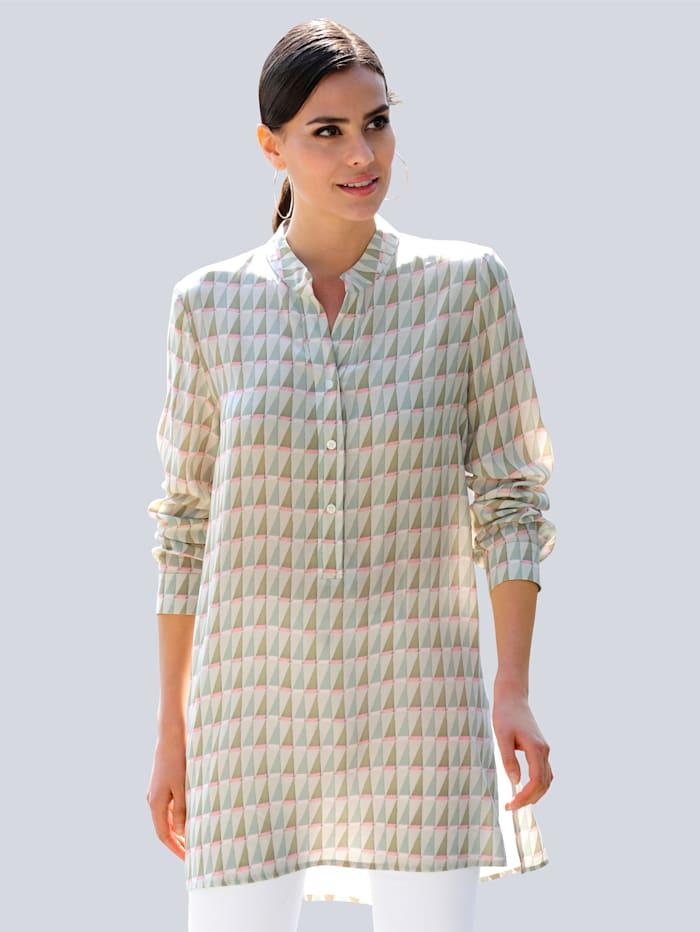 Alba Moda Blúzka s grafickým vzorom, Šalviová zelená/Ružová