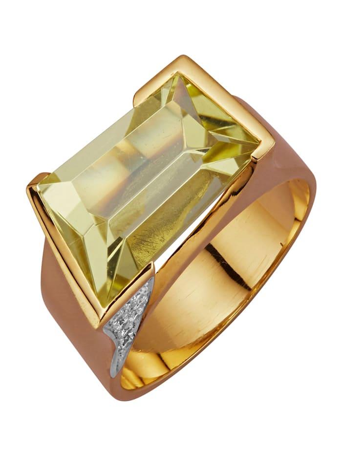 Diemer Farbstein Ring med citronkvarts och briljanter, Gul