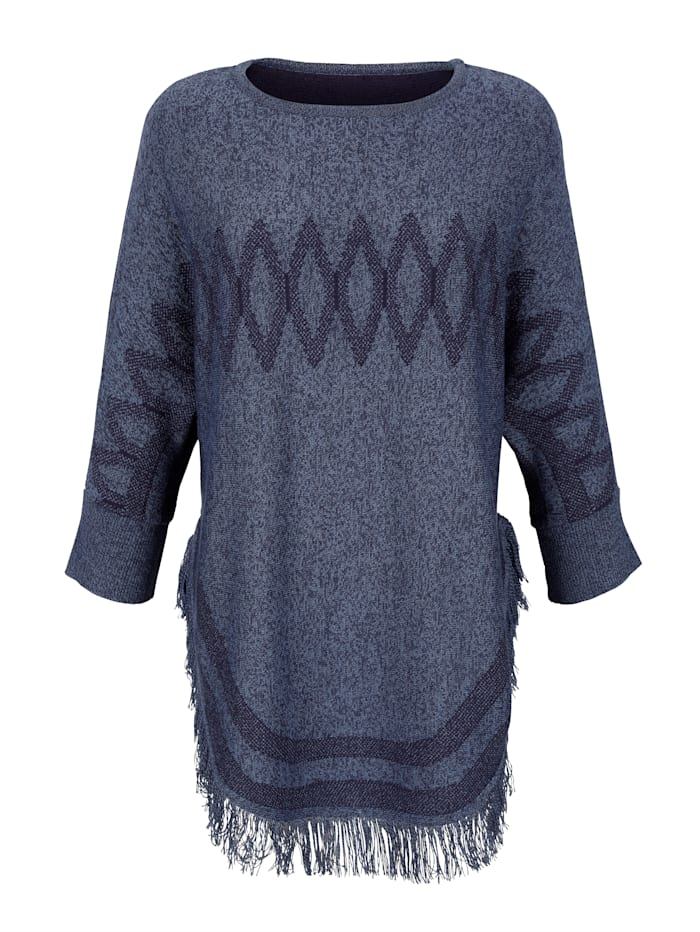 Laura Kent Poncho med frynsekant fint strikket mønster, Blå