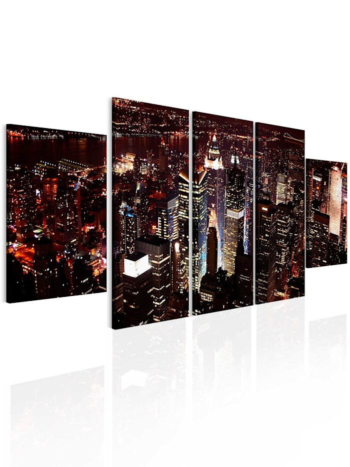 artgeist Wandbild Dunkle Nacht in New York, gold,black,white