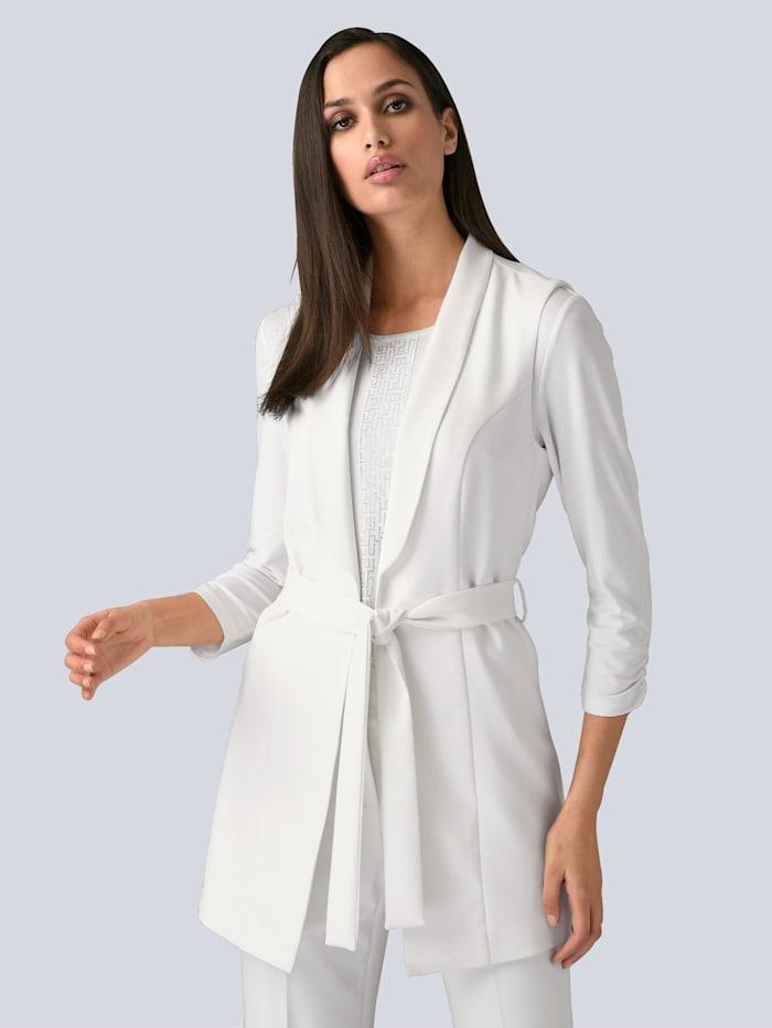 Alba Moda Blazerweste mit Bindegürtel, Off-white