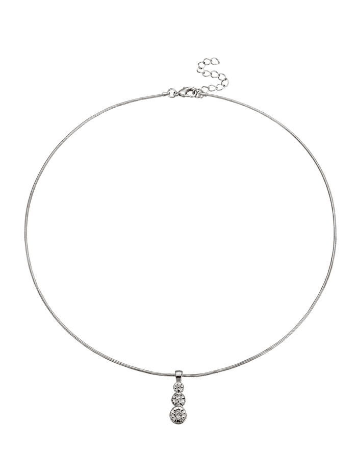 Halsband med glasstenar, Silverfärgad