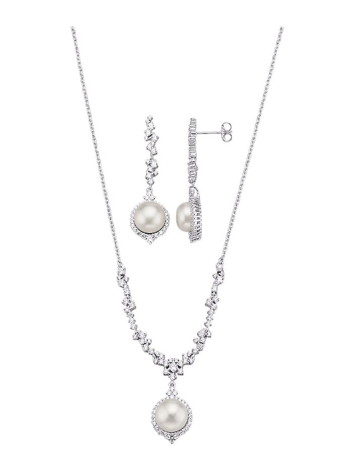 Amara Highlights Parure de bijoux 2 pièces avec perles de culture d'eau douce blanches, Blanc