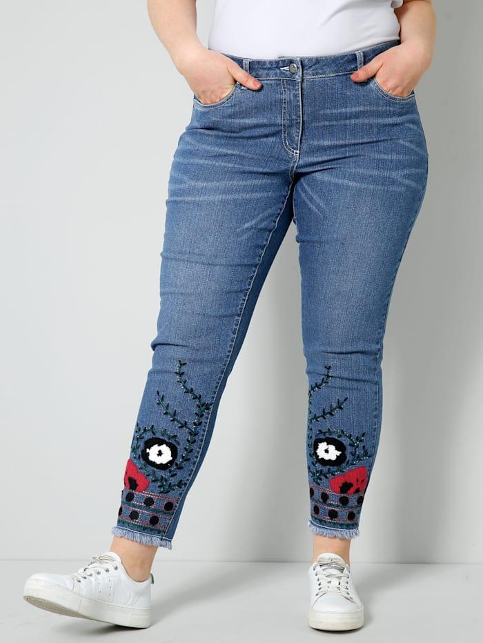 Sara Lindholm Jeans vorne mit Stickereien und Dekosteinchen, Blue stone